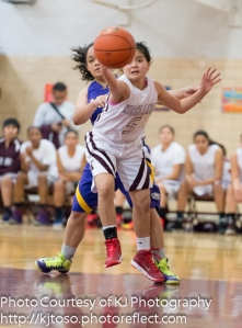 Highlands freshman guard Jerrica Herrera chases down a loose ball.