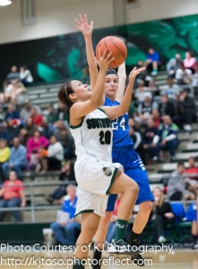 Southwest's Gaby Bernal drives for two points.