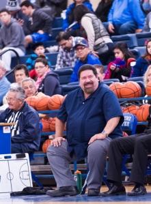 Lanier coach Rudy Bernal enjoys a light moment against Jefferson.