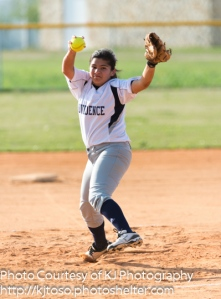 Providence pitcher Karley Rosales bears down.
