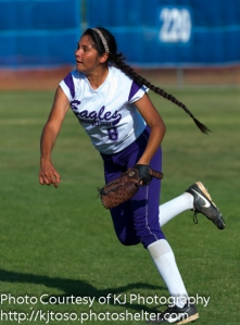 Brackenridge senior Ana DeLeon, throwing from right field, drove in a run in Game 1 against Boerne Champion.