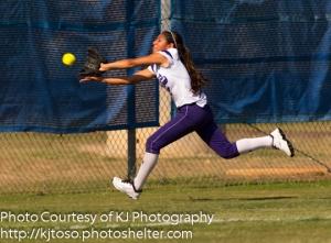 Brackenridge left fielder Josette Garcia made an outstanding running catch to end the third inning against Champion.