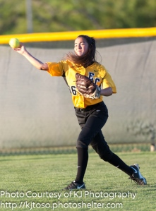 East Central's Cara Johnson filled in capably for injured Kendall Talley in center field.