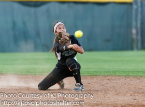 Southwest shortstop Krystal Salinas isn't afraid to get dirty in order to make a play.