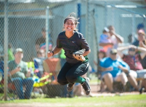 Southwest senior catcher Gabby Flores rejoices over the Dragons' series sweep of San Benito.