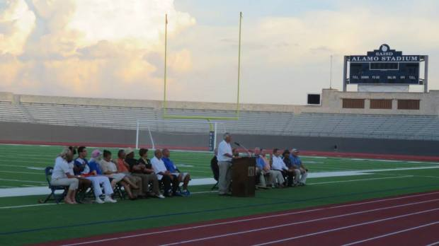 The blue ribbon panel of current and former SAISD athletes, coaches and administrators who spoke at the re-dedication ceremony.  KSAT-12 sportscaster Greg Simmons served as master of ceremonies.