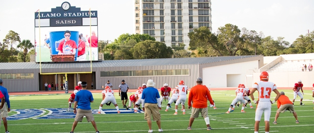 The Mustangs line up for a scrimmage against Laredo United.