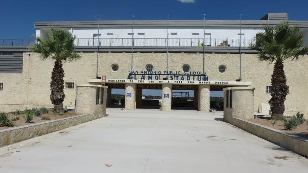Freshly landscaped entrance to renovated Alamo Stadium. Photo by Mark Lieberman, MDLblog