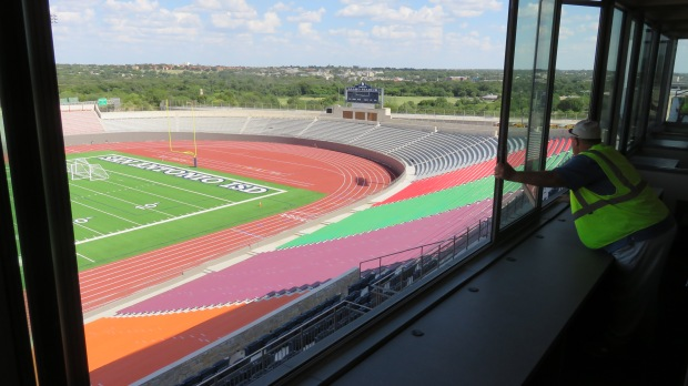 View of the south end zone at the renovated stadium