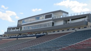 A view of the new Alamo Stadium press box from field level.