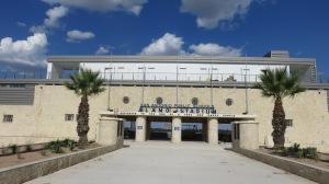Freshly landscaped entrance to Alamo Stadium