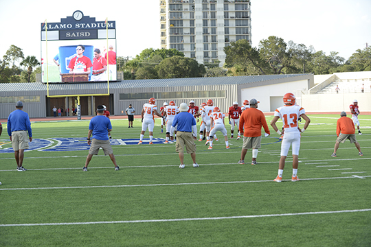 A wide-angle view between plays of the Jefferson-Laredo United scrimmage with the new Alamo Stadium video board in the background.