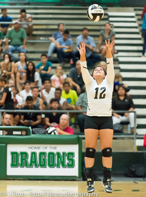 Southwest setter Angie Aguilar distributes one of her 10 assists.