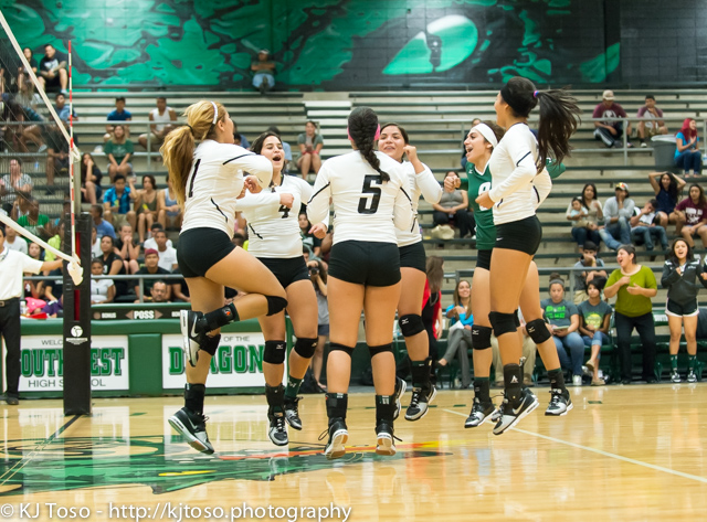 Southwest celebrates its three-game victory over Highlands.