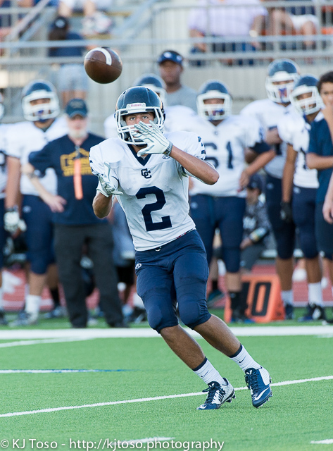 Central Catholic receiver William Prouse catches a pass in an earlier game.