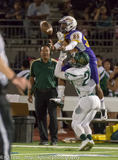 Brackenridge receiver Jordan Beasley (85) makes a leaping catch over a McCollum defender.