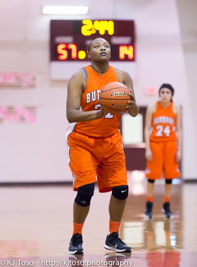 Burbank post Antwanisha Riddle takes a free throw against Port Lavaca Calhoun.