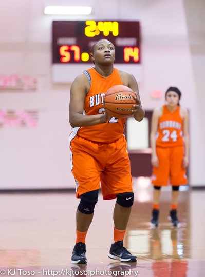 Burbank post Antwanisha Riddle takes a free throw against Port Lavaca Calhoun.
