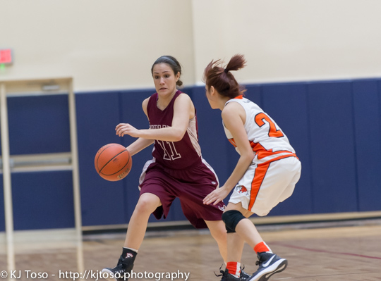 Burbank guard Olivia Cardenas tries to prevent Highlands' Emily Pearce (11) from turning the corner.