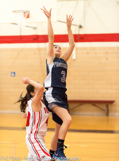 Providence junior Kelsey Day goes in for a layup.